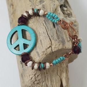 Turquoise Bracelet Beads Boho Peace Sign Charm A6
